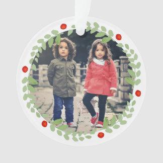 Watercolor Christmas Wreath Photo Ornament