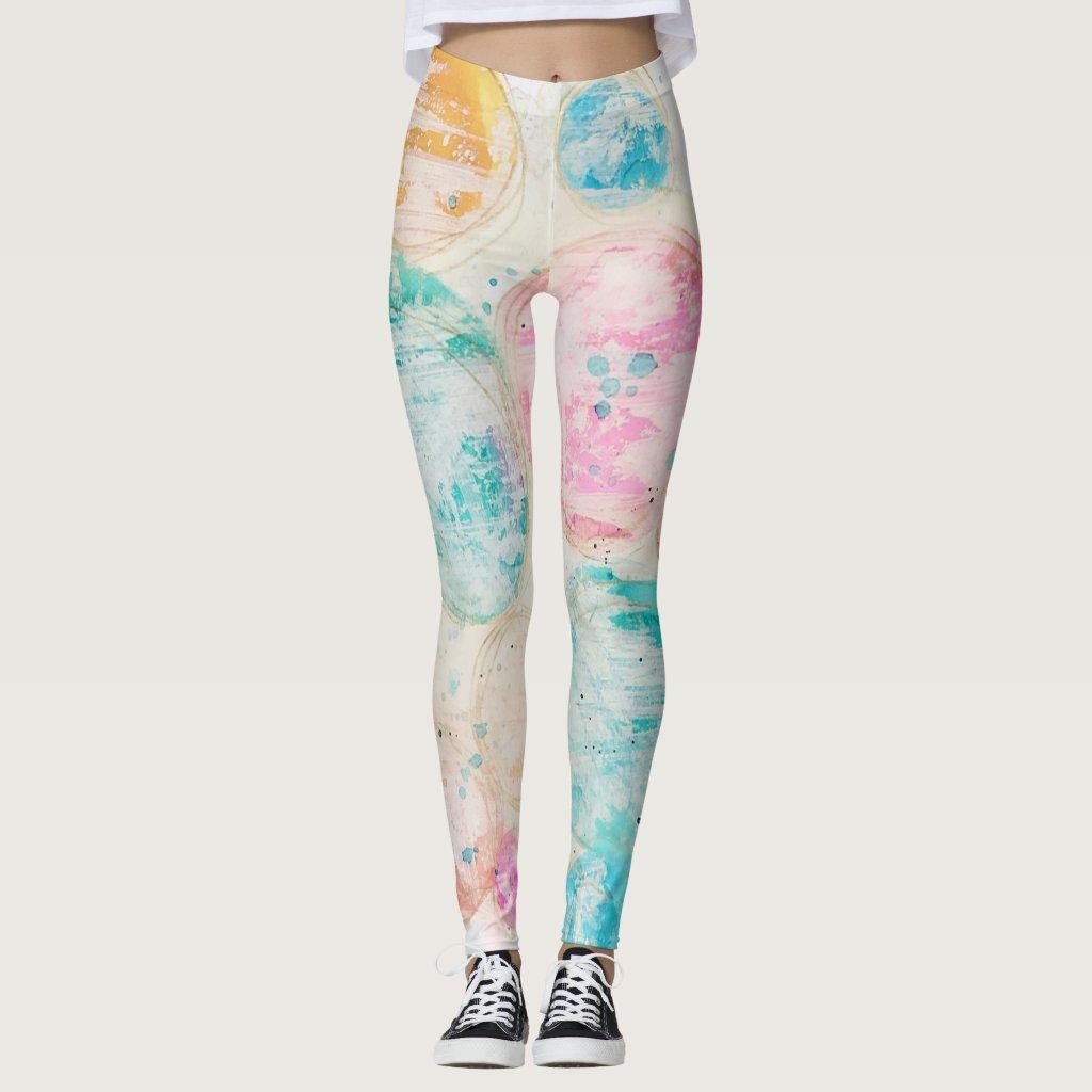 Watercolor Circle Abstract Mixed Media Art Pastel Leggings