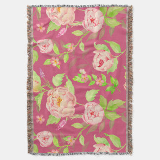 Watercolor Classic Vintage Peony Throw Rug