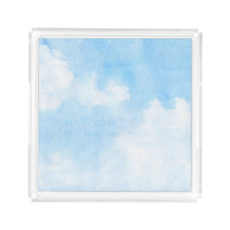 Watercolor clouds and sky background acrylic tray