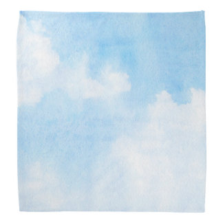 Watercolor clouds and sky background bandana
