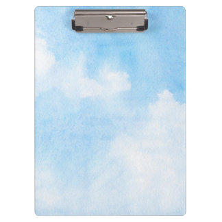 Watercolor clouds and sky background clipboard