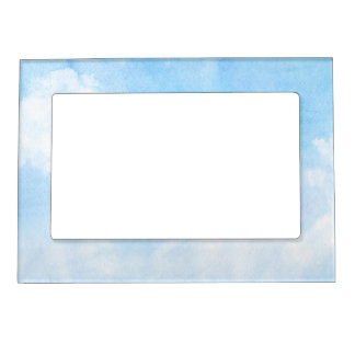 Watercolor clouds and sky background magnetic frames