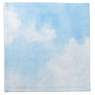 Watercolor clouds and sky background napkin