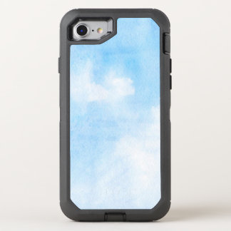 Watercolor clouds and sky background OtterBox defender iPhone 8/7 case