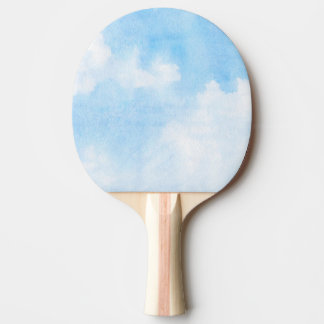 Watercolor clouds and sky background ping pong paddle