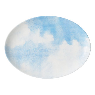 Watercolor clouds and sky background porcelain serving platter
