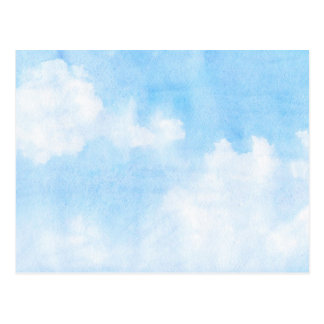 Watercolor clouds and sky background postcard