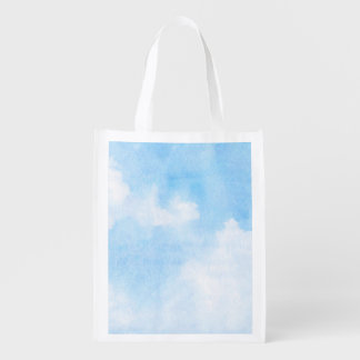 Watercolor clouds and sky background reusable grocery bag