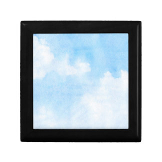 Watercolor clouds and sky background small square gift box