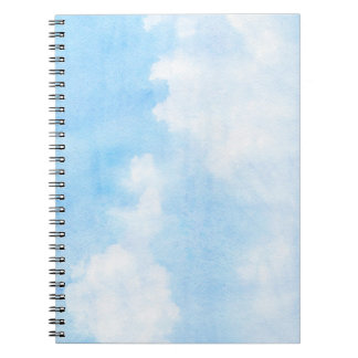 Watercolor clouds and sky background spiral notebook