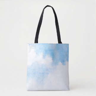 Watercolor clouds and sky background tote bag