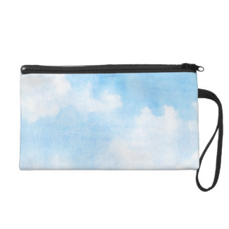 Watercolor clouds and sky background wristlet purses