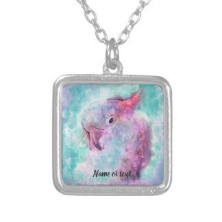 Watercolor cockatoo silver plated necklace