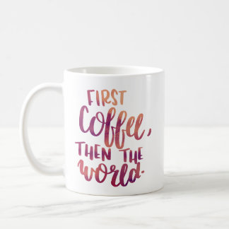 Watercolor Coffee Hand Lettered Mug