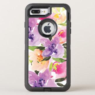 Watercolor Colorful Boho Flowers Illustration OtterBox Defender iPhone 7 Plus Case