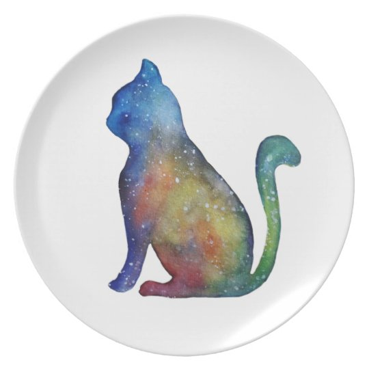 Watercolor Colorful Cat  Melamine Plate
