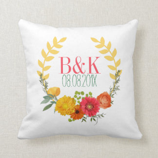 Watercolor Colorful Floral Wreath Cushion