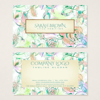 Watercolor Colorful Hand Drawn Flowers Pattern Business Card