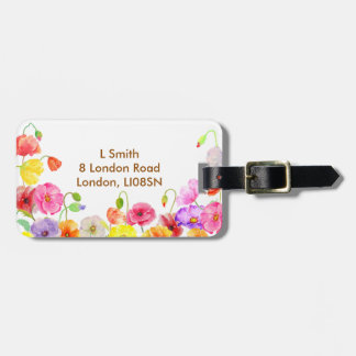 Watercolor Colorful Poppies flowers Luggage Tag