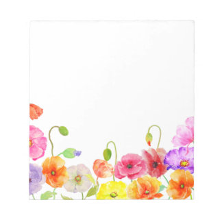 Watercolor Colorful Poppies flowers Notepad
