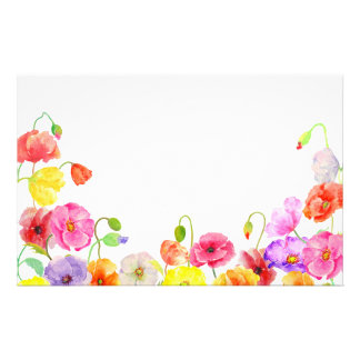 Watercolor Colorful Poppies flowers Stationery