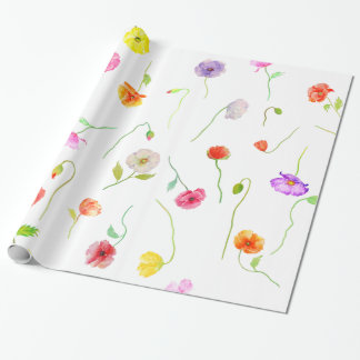 Watercolor Colorful Poppies flowers Wrapping Paper