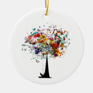 Watercolor colorful tree n butterfly.png round ceramic decoration