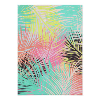 Watercolor colorful tropical palmtree leaf pattern poster