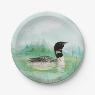 Watercolor Common Loon Bird Nature Art 7 Inch Paper Plate