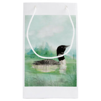 Watercolor Common Loon Bird Nature Art Small Gift Bag