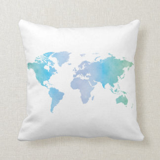 Watercolor Cool World Map Cushion