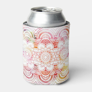 Watercolor coral floral mandala handdrawn custom can cooler