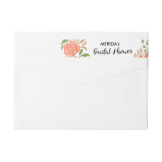 Watercolor Coral Flowers Bridal Shower Script Wrap Around Label
