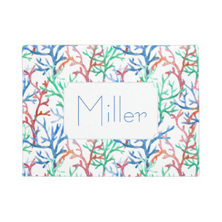 Watercolor Coral Pattern | Add Your Name Doormat