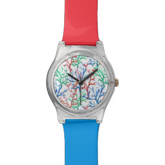 Watercolor Coral Pattern Watch