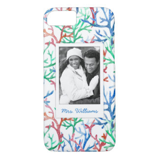Watercolor Coral Pattern | Your Photo & Name iPhone 8/7 Case