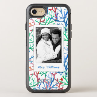 Watercolor Coral Pattern | Your Photo & Name OtterBox Symmetry iPhone 8/7 Case