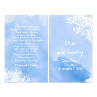 Watercolor coral reef aquamarine wedding program 21.5 cm x 28 cm flyer