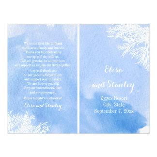 Watercolor coral reef aquamarine wedding program flyer