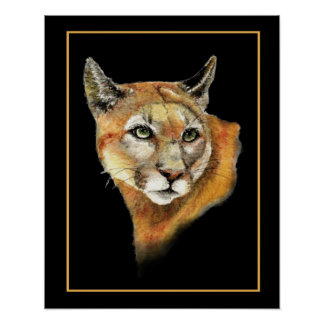 Watercolor Cougar Mountain Lion Print
