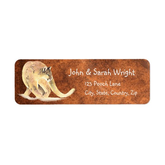 Watercolor Cougar, Puma, Mountain Lion Address Return Address Label