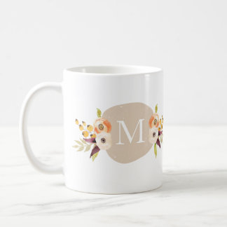 Watercolor Country Floral Monogram Gift Mug