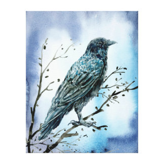 Watercolor Crow on tree branch. Canvas Print