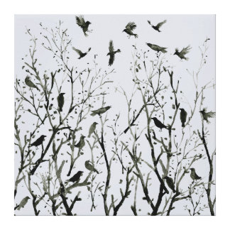 Watercolor Crows and trees Canvas Print
