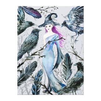 Watercolor Crows and Witch Canvas Print