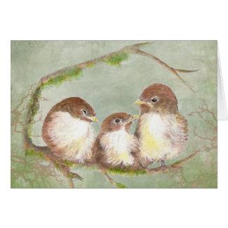 Watercolor Cuddling Sparrow Bird Family Greeting Card