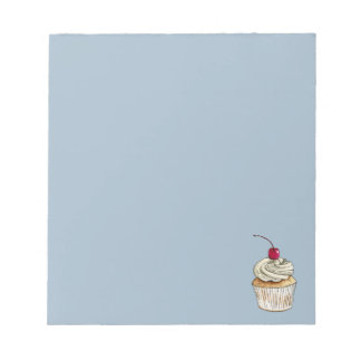 Watercolor Cupcake with Whipped Cream and Cherry Notepads