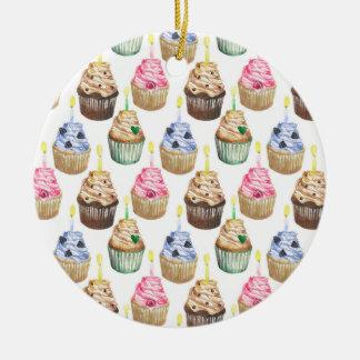 Watercolor cupcakes christmas ornament
