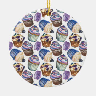 Watercolor cupcakes christmas ornament